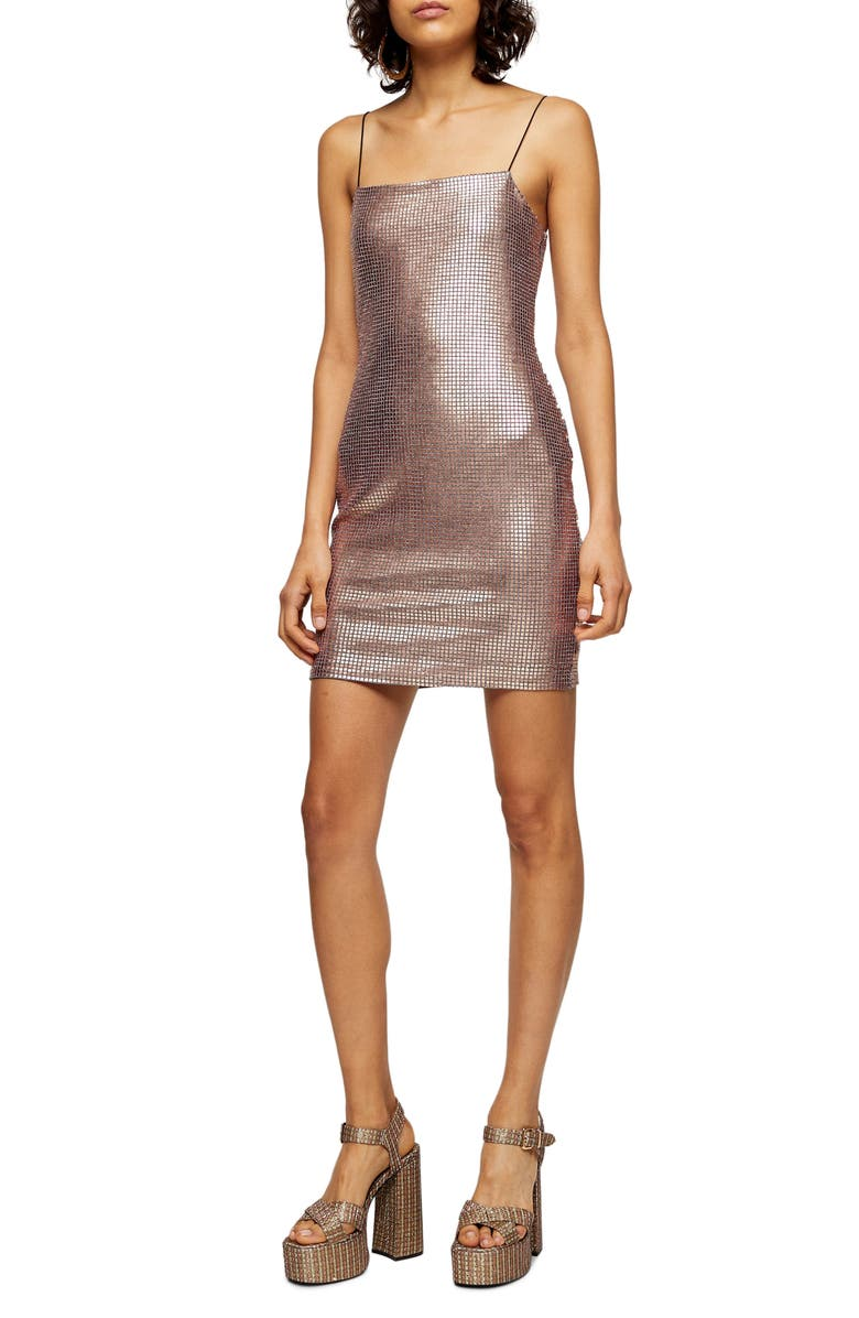 TOPSHOP Holographic Sleeveless Sequin Body-Con Minidress, Main, color, ROSE GOLD