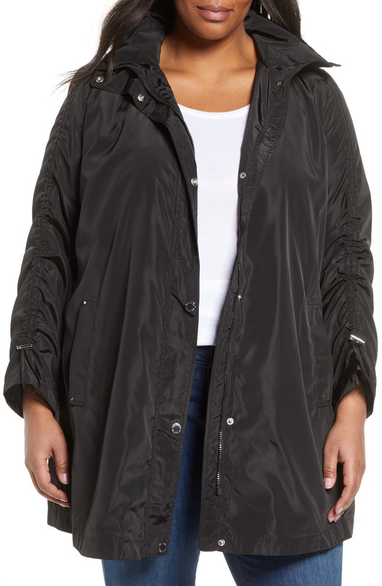 VIA SPIGA Ruched Sleeve Packable Rain Jacket, Main, color, 001