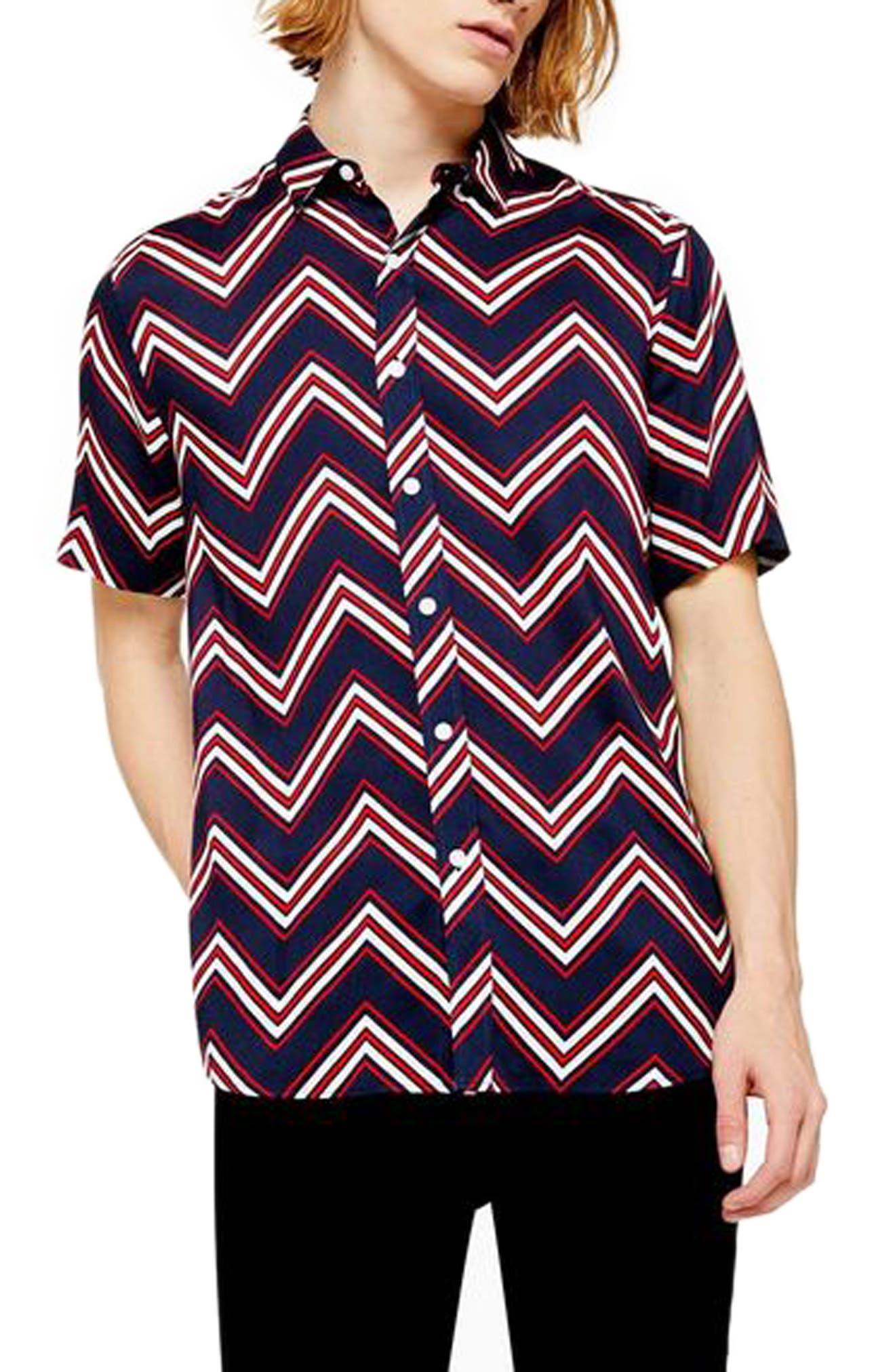1960s – 70s Mens Shirts- Disco Shirts, Hippie Shirts Mens Topman Chevron Shirt $27.50 AT vintagedancer.com