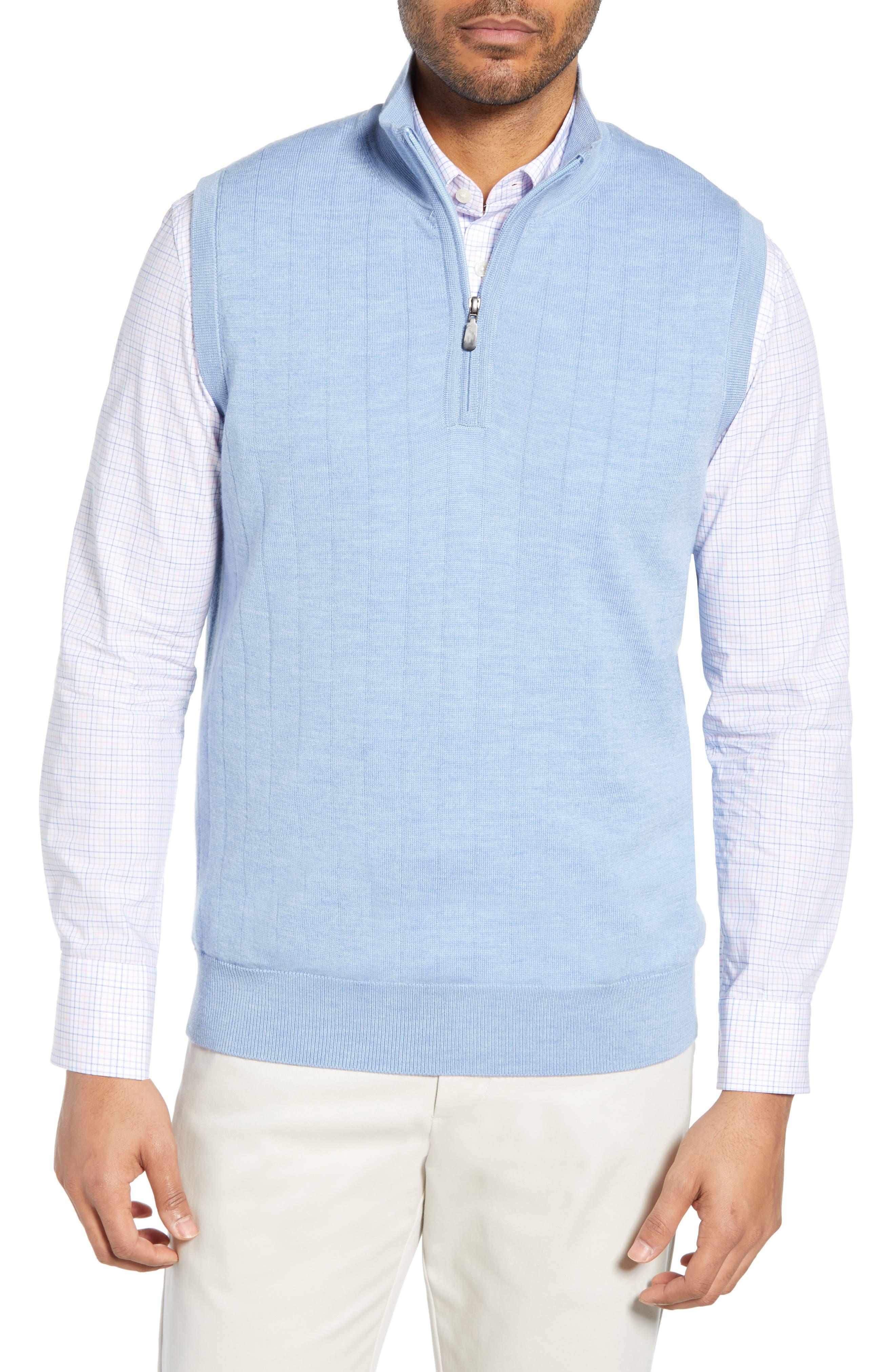 Quarter Zip Wool Sweater Vest, Main, color, LIGHT BLUE