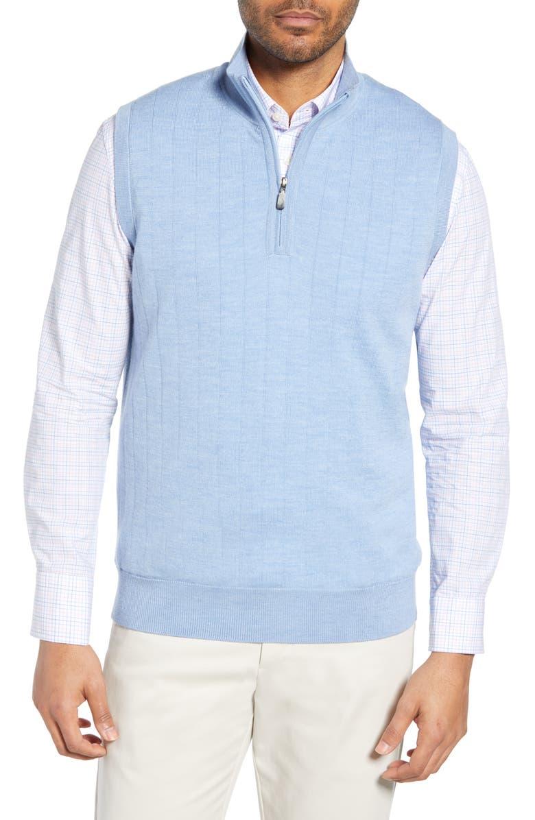 BOBBY JONES Quarter Zip Wool Sweater Vest, Main, color, LIGHT BLUE
