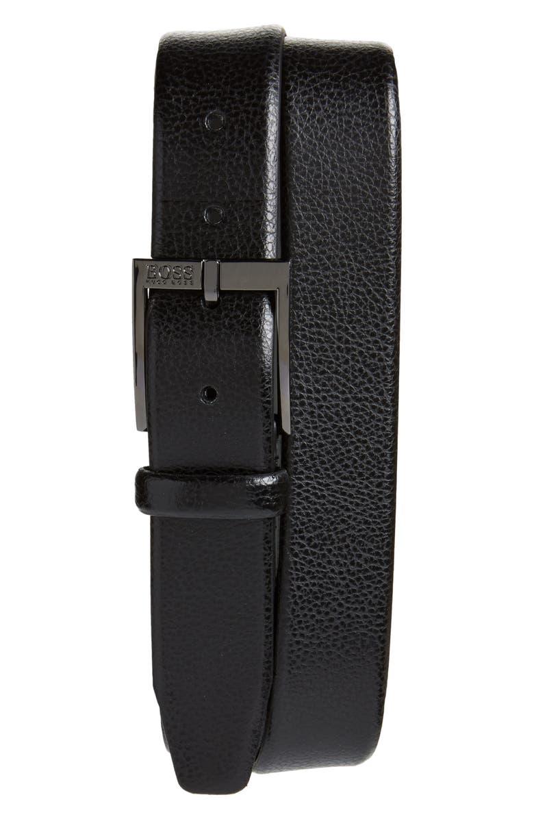 BOSS Elloy Leather Belt, Main, color, BLACK