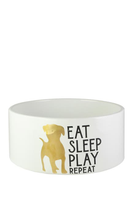 Image of Jay Import Everyday Eat Sleep Play Pet Bowl - Marble/Gold