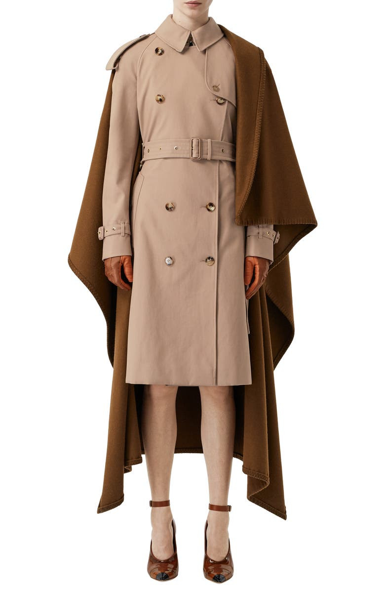 BURBERRY Trench Coat with Attached Cashmere Blanket, Main, color, CAMEL