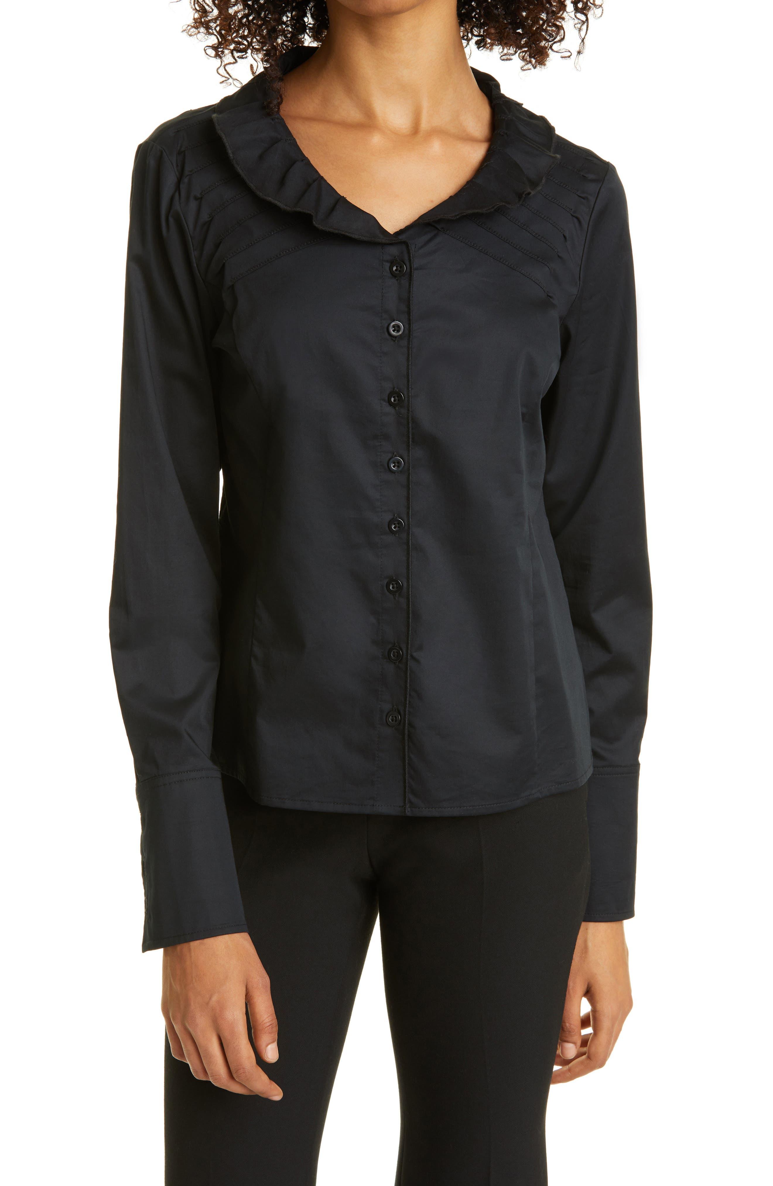 Ruffle Neck Button-Up Shirt