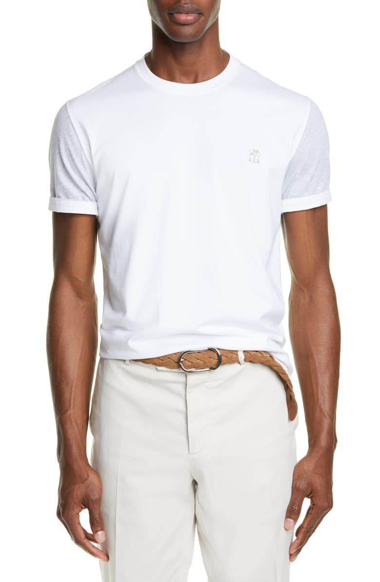 BRUNELLO CUCINELLI Contrast Sleeve T-Shirt, Main, color, WHITE GREY