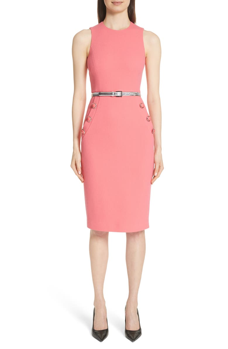 MICHAEL KORS Button Detail Stretch Wool Dress, Main, color, 677