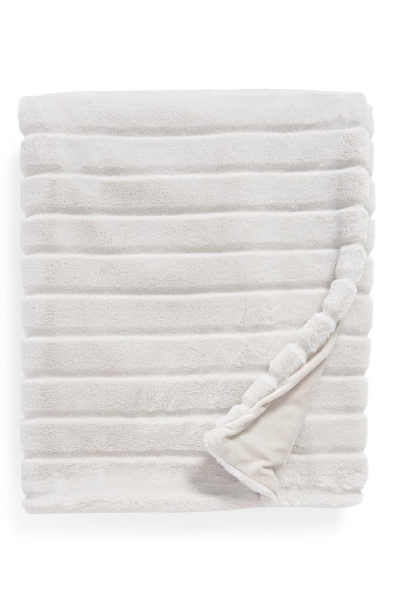 NORDSTROM at Home Sheared Stripe Faux Fur Throw, Main, color, 022