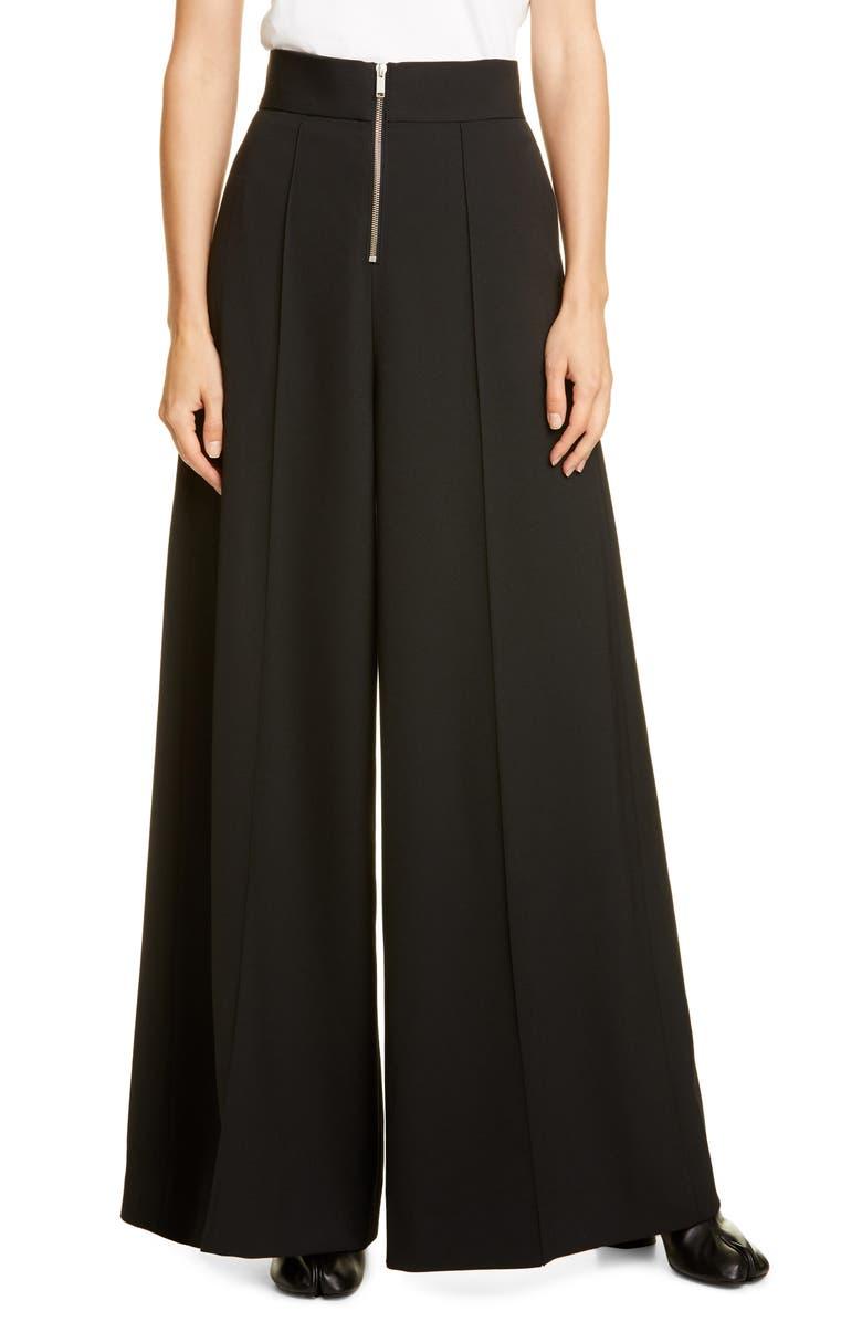 MAISON MARGIELA Zip Front Wide Leg Pants, Main, color, BLACK