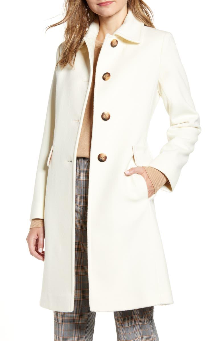 FLEURETTE Single Breasted Wool Reefer Coat, Main, color, PARCHMENT