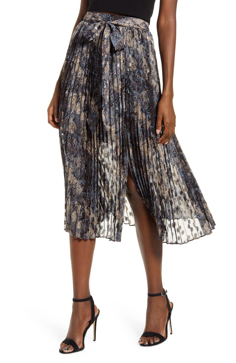 J.O.A. Tie Waist Pleated Midi Skirt, Main, color, DUSTY BLUE MULTI