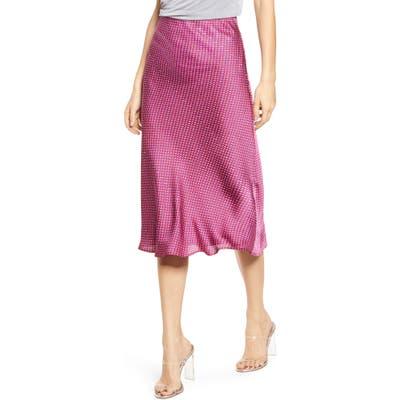 Plus Size Leith Bias Cut Satin Midi Skirt, Pink