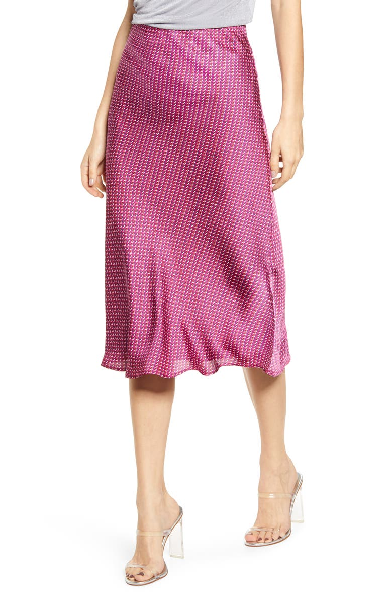 LEITH Bias Cut Satin Midi Skirt, Main, color, 650