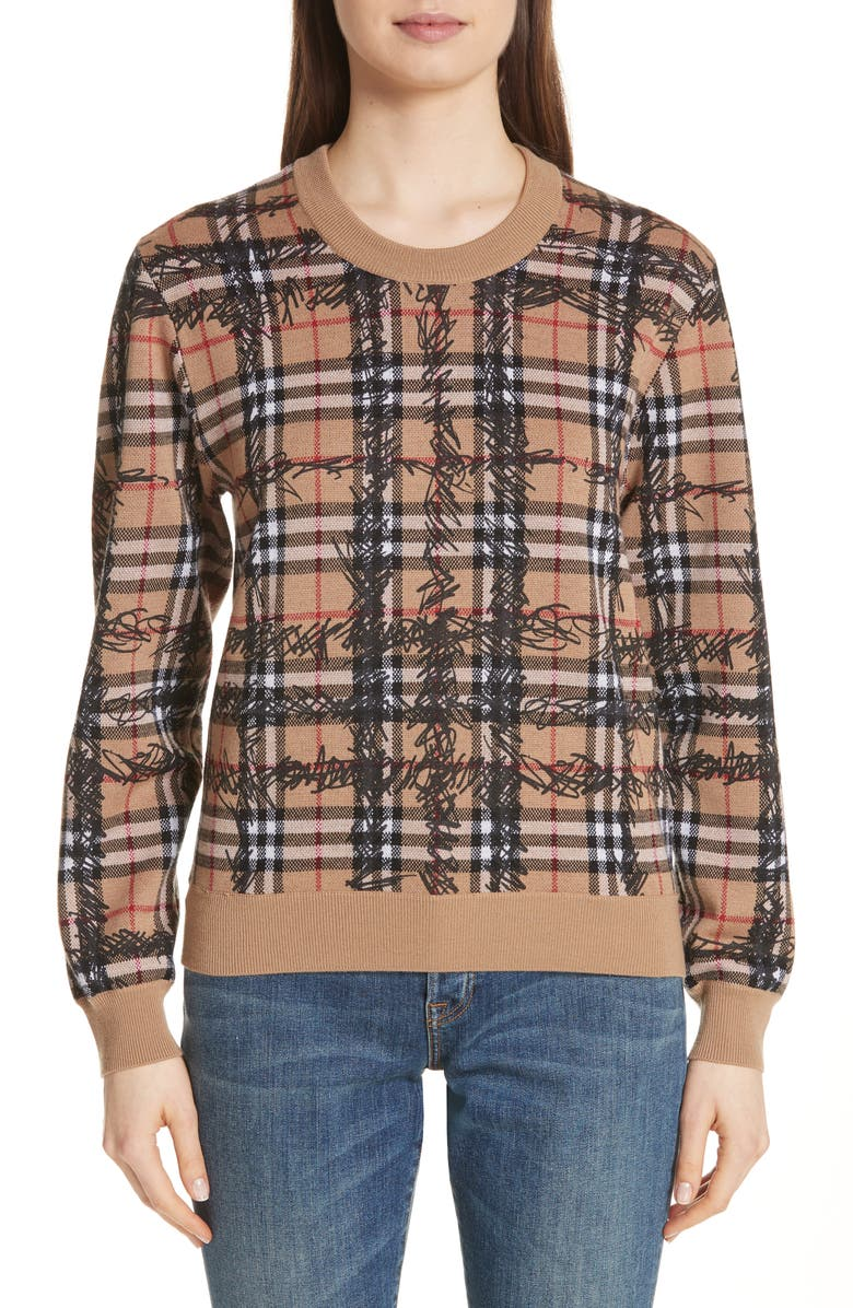 BURBERRY Kern 48 Scribble Check Merino Wool Sweater, Main, color, 231