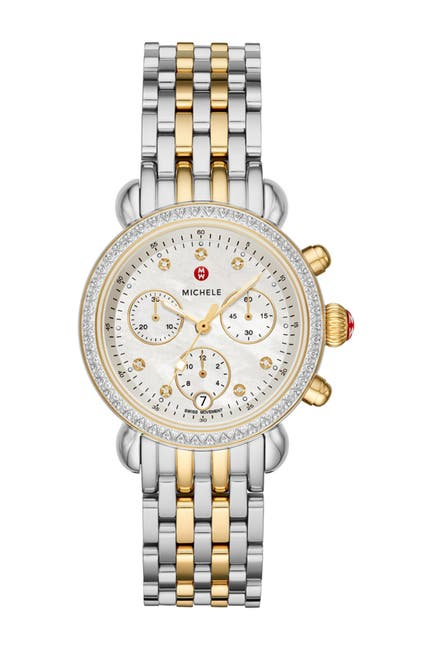 Image of Michele Women's Diamond Accent Two-Tone CSX36 Watch, 36mm - 0.62ctw