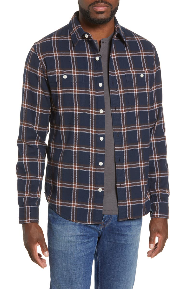 BONOBOS Slim Fit Check Flannel Button-Up Shirt, Main, color, HARVEY PLAID - NAVY BEATS