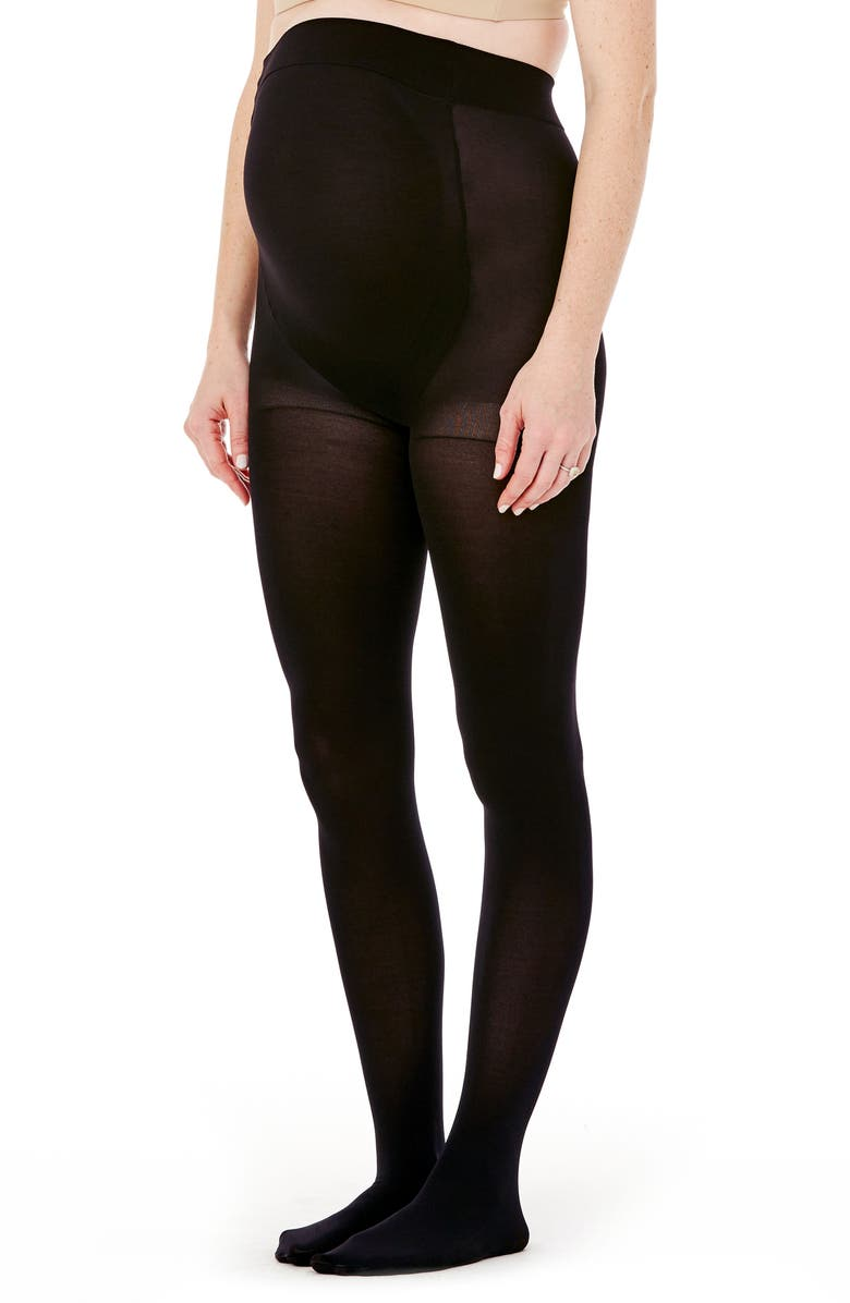 INGRID & ISABEL<SUP>®</SUP> Maternity Shaping Tights, Main, color, EBONY