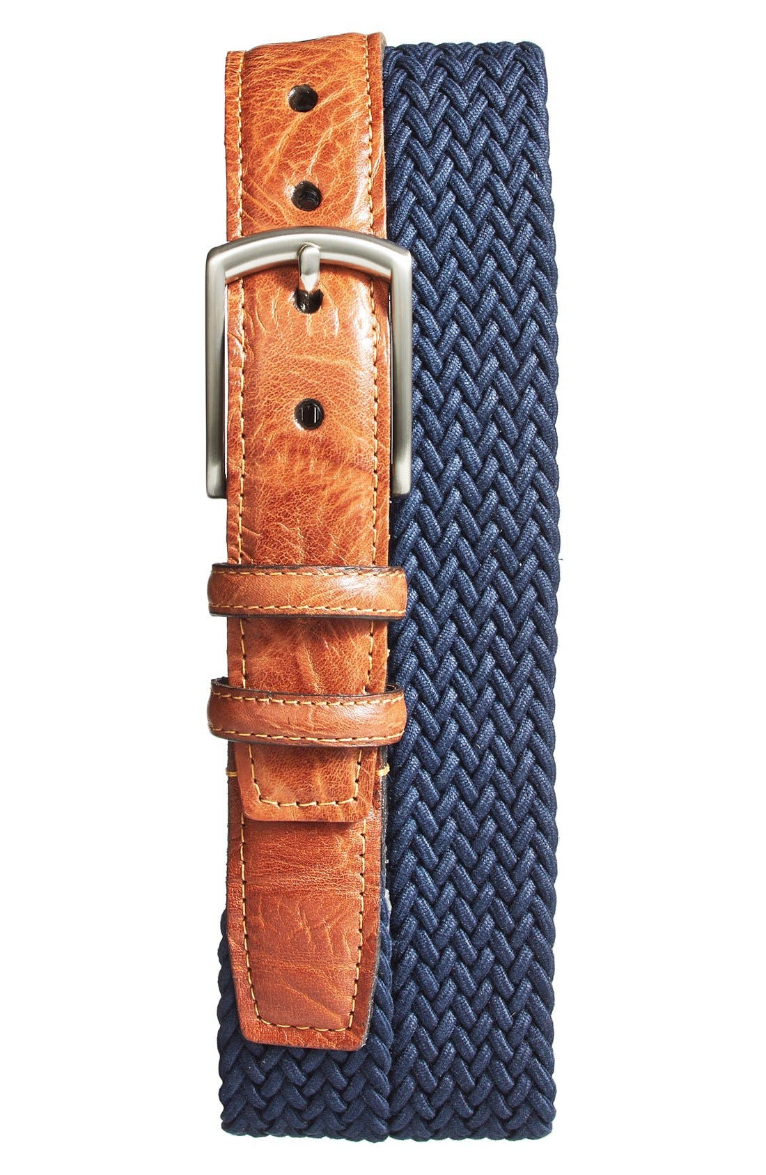 Richly grained leather tabs detail a casually handsome braided belt made in sturdy stretch cotton and secured with a brushed nickel buckle. Style Name: Torino Braided Stretch Cotton Belt. Style Number: 5080236. Available in stores.