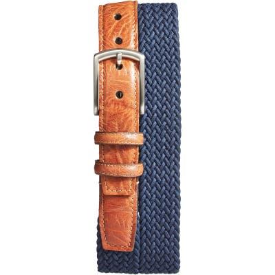 Torino Braided Stretch Cotton Belt, Navy