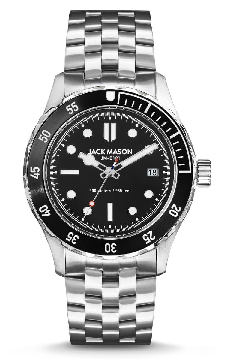 JACK MASON Diving Bracelet Watch, 42mm, Main, color, BLACK