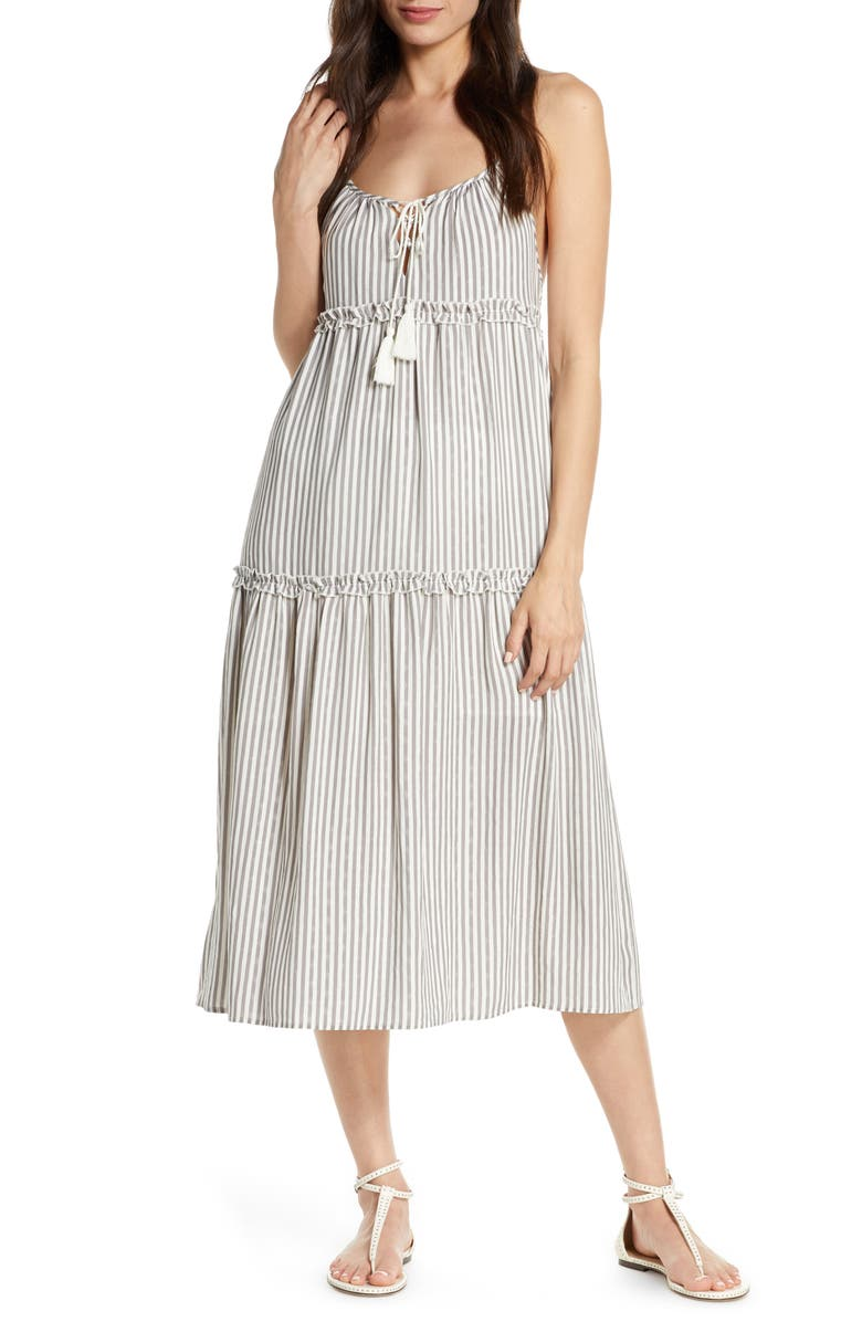 CHELSEA28 Carmelita Tiered Cover-Up Dress, Main, color, GREY STRIPE