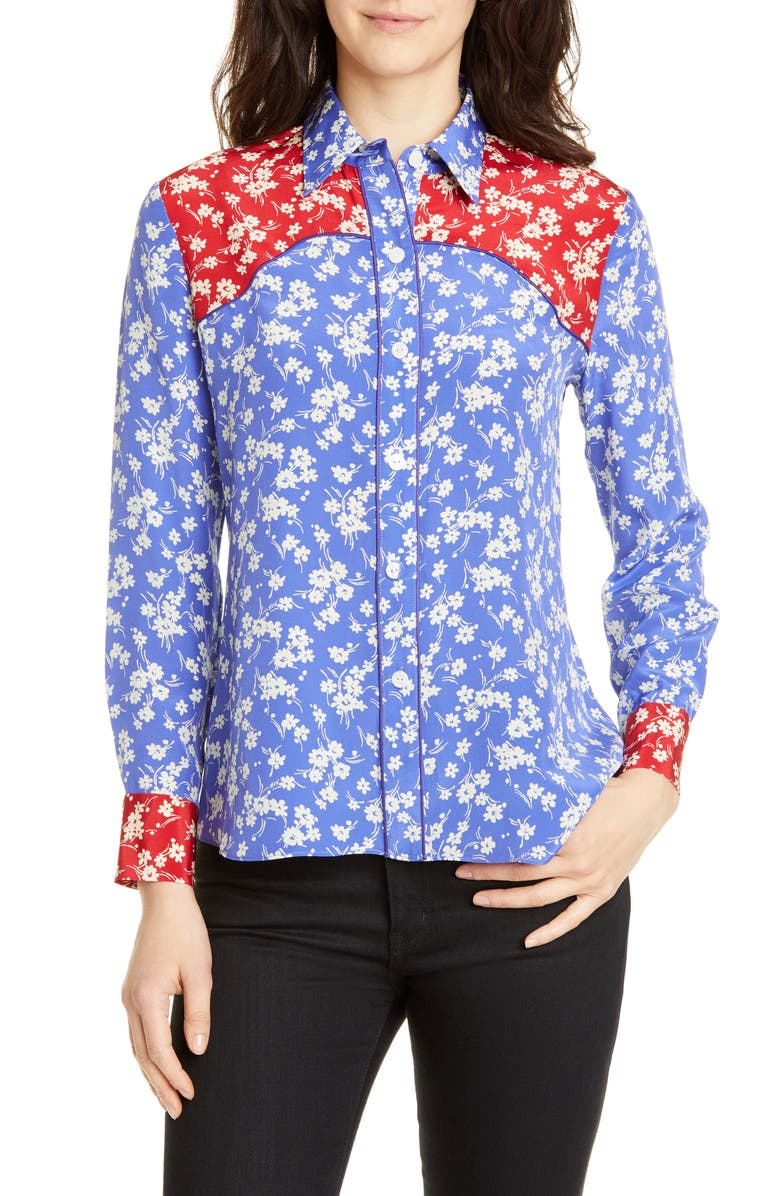 HVN Kate Silk Western Shirt, Main, color, COMBO WILDFLOWER