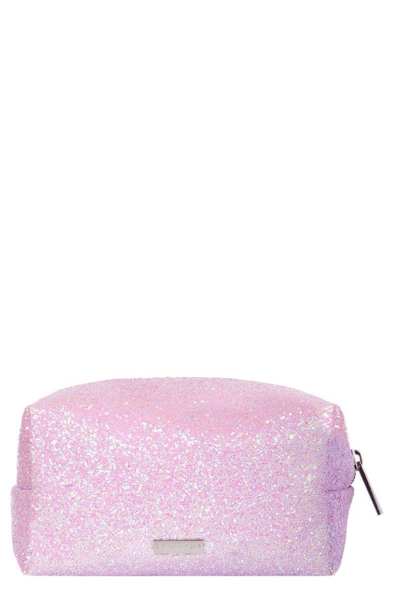 SKINNYDIP Skinny Dip Pink Glitsy Makeup Bag, Main, color, NO COLOR
