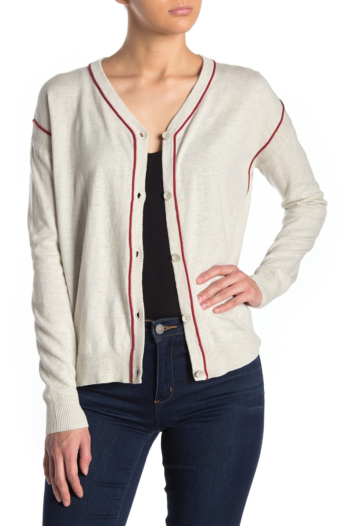 Image of Dolce Cabo Contrast Stripe Cardigan
