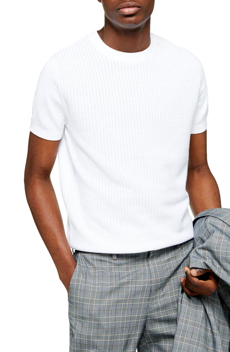 TOPMAN Classic Fit Texture Stitch Short Sleeve Sweater, Main, color, WHITE