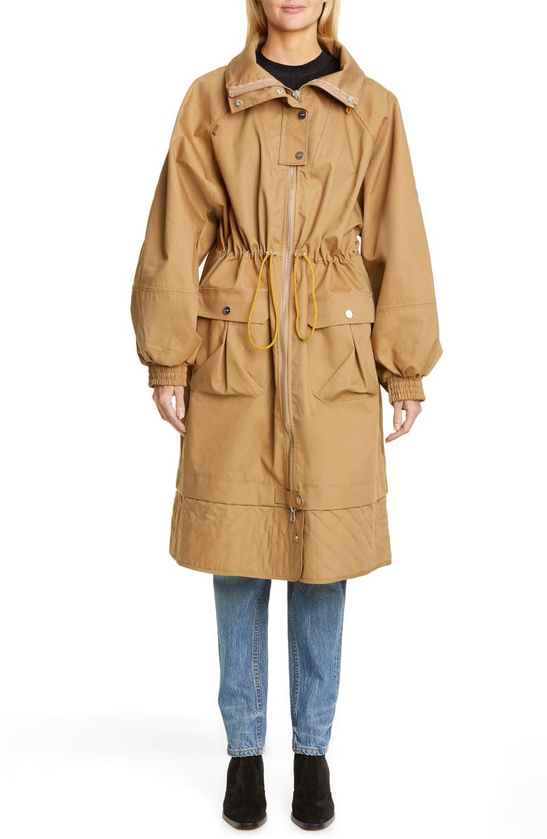 GANNI Double Cotton Parka, Main, color, TIGERS EYE