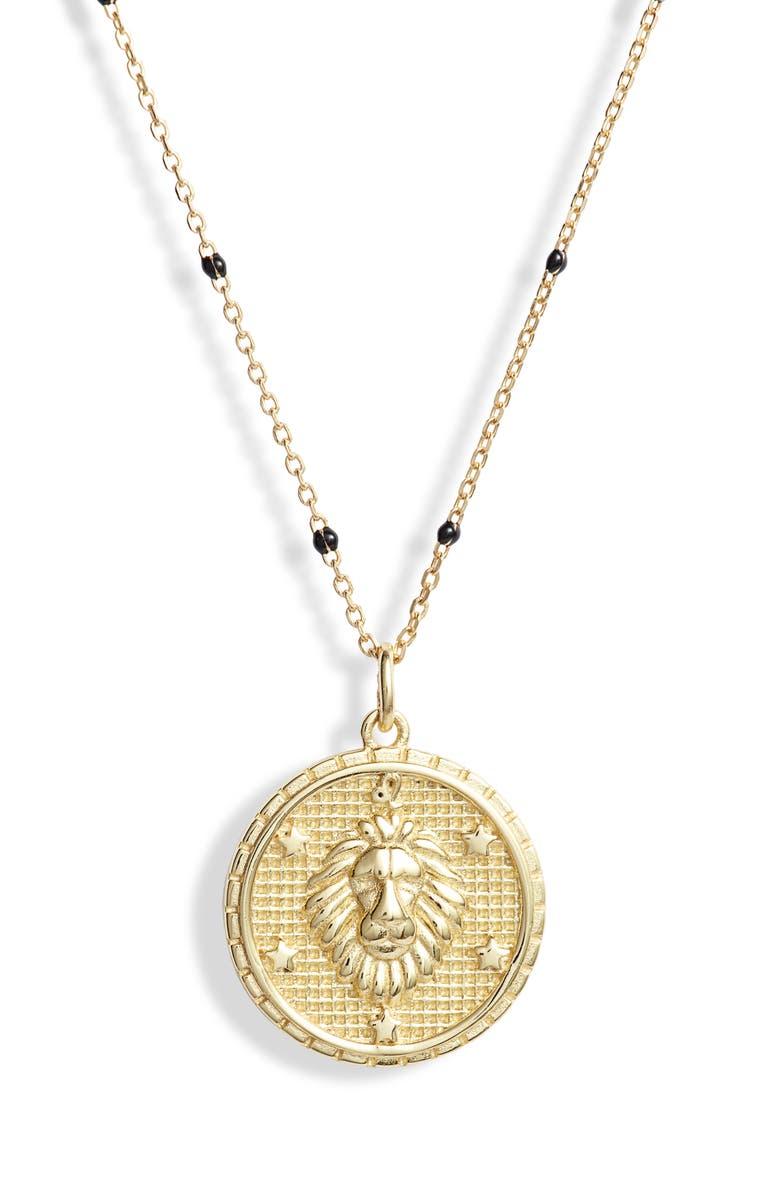 ARGENTO VIVO STERLING SILVER Argento Vivo Zodiac Pendant Necklace, Main, color, LEO