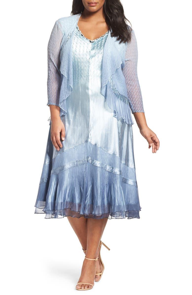 Charmeuse & Chiffon Waterfall Jacket Dress