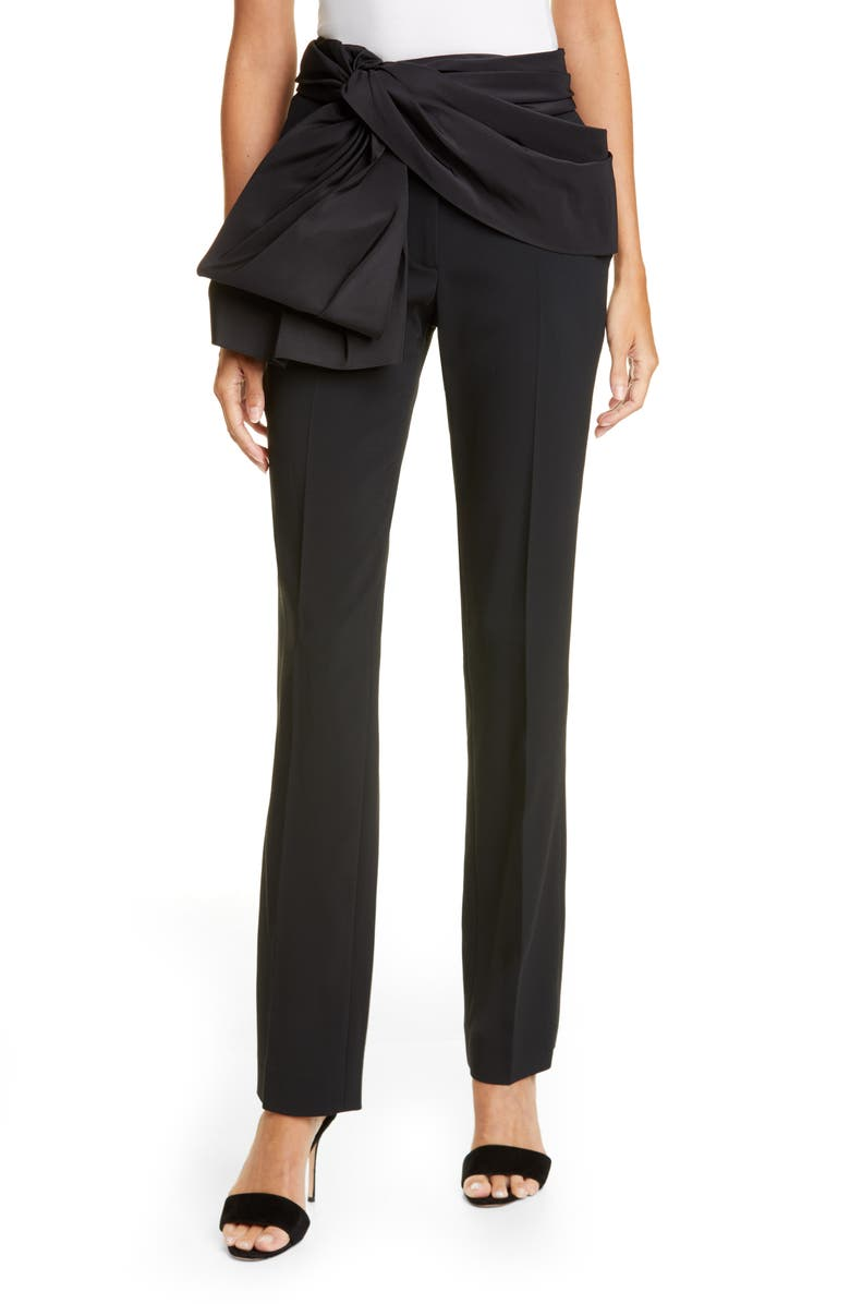 CAROLINA HERRERA Tie Belt Straight Leg Pants, Main, color, BLACK/ BLACK