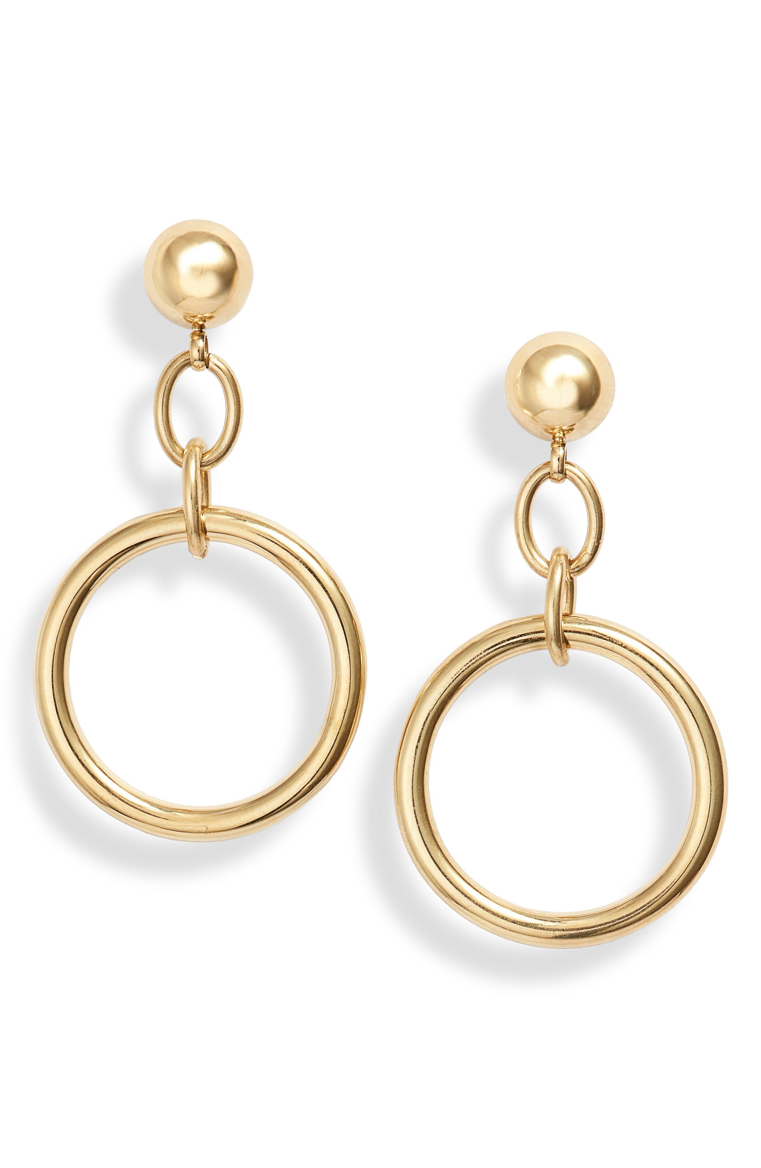 Chain Link Hoop Drop Earrings