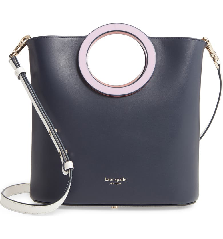 KATE SPADE NEW YORK medium betty leather bucket bag, Main, color, BLAZER BLUE MULTI