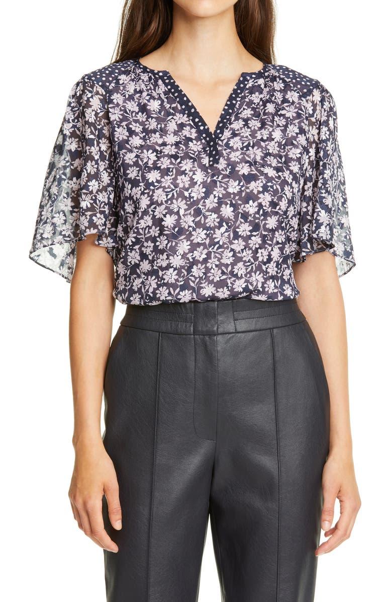 REBECCA TAYLOR Floral Mix Silk Blend Top, Main, color, LILAC COMBO