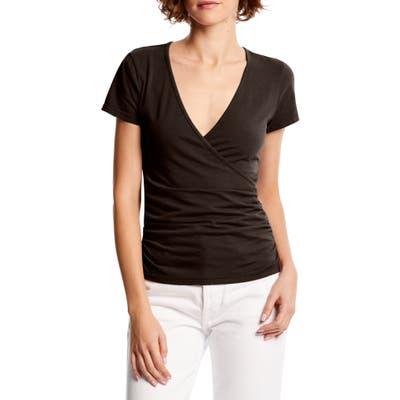 Michael Stars Bella Surplice Ruched Stretch Cotton Top, Black