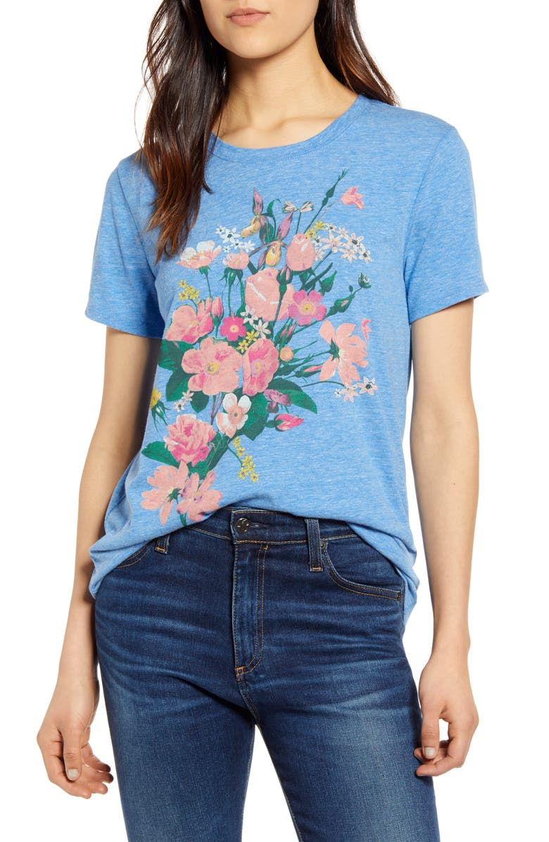 LUCKY BRAND Bouquet Graphic Tee, Main, color, MONACO BLUE
