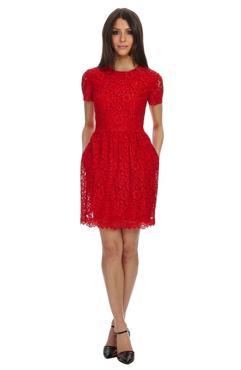 DONNA MORGAN Lace Fit & Flare Dress, Main, color, 624