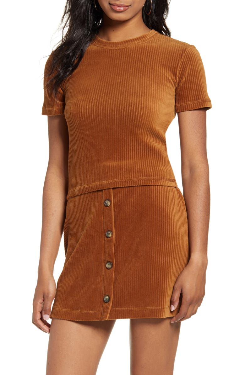 UNIONBAY Adella Ribbed Velour Crop Tee, Main, color, AGED BRONZE