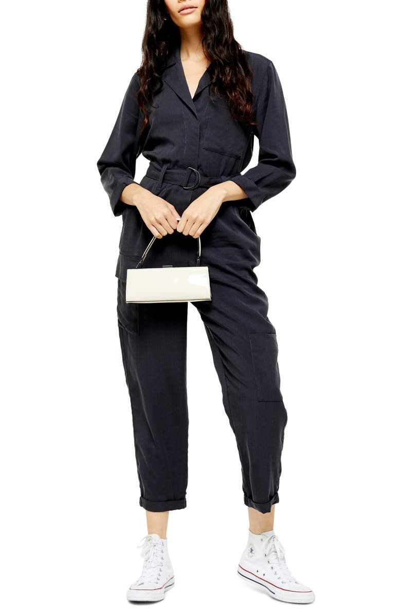 TOPSHOP Alexa Boilersuit, Main, color, WASHED BLACK
