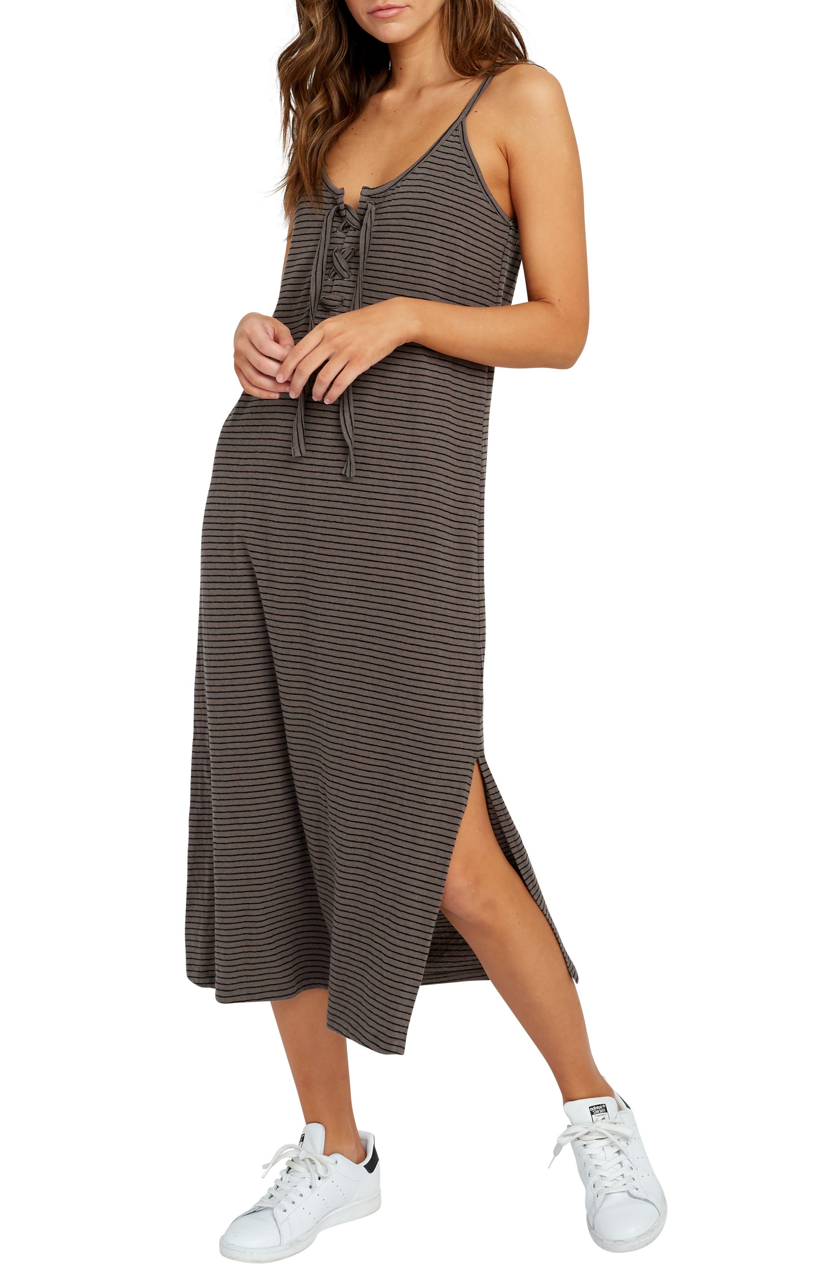 Rvca Equator Lace-Up Midi Dress, Grey