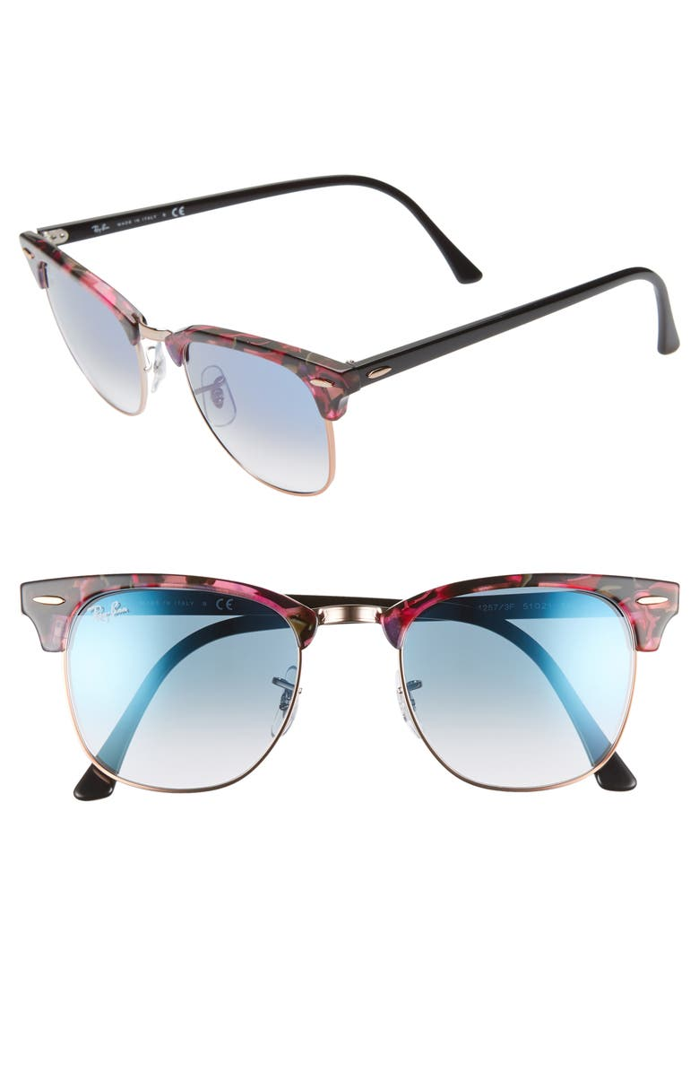 RAY-BAN Clubmaster 51mm Gradient Sunglasses, Main, color, 020