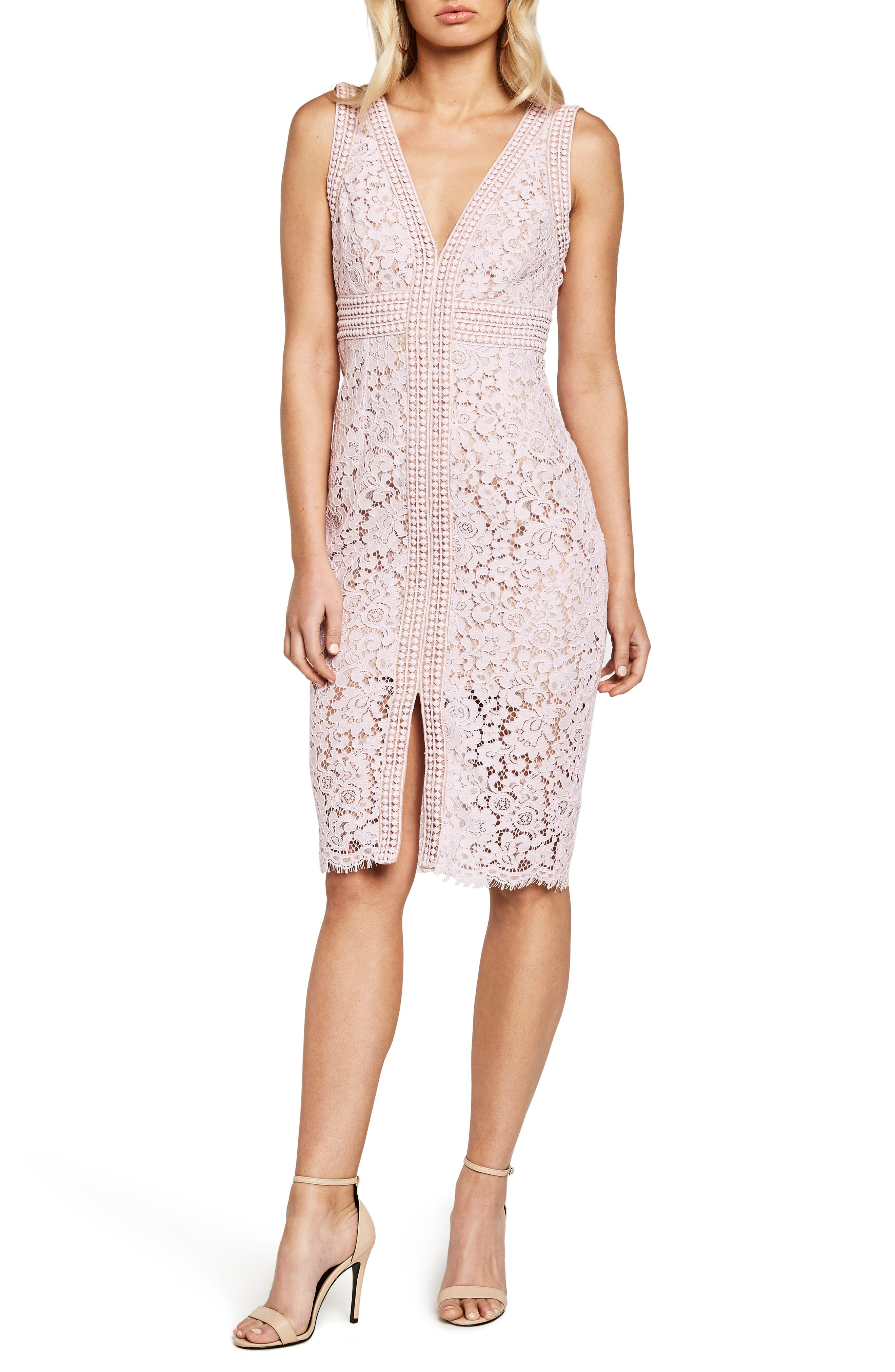 Image of Bardot Morgan Front Slit Lace Sheath Dress