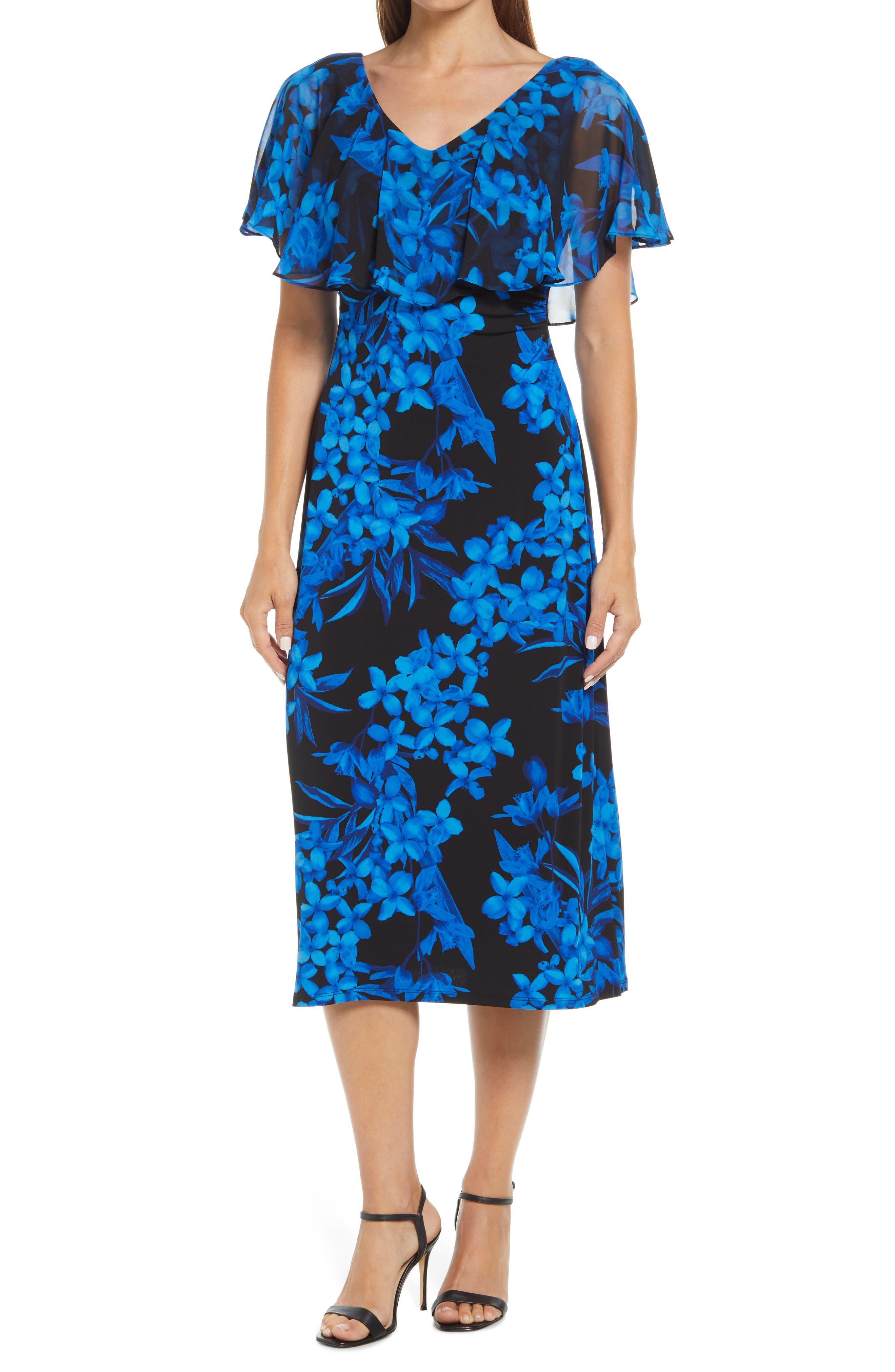 Floral Cape Sleeve Midi Dress