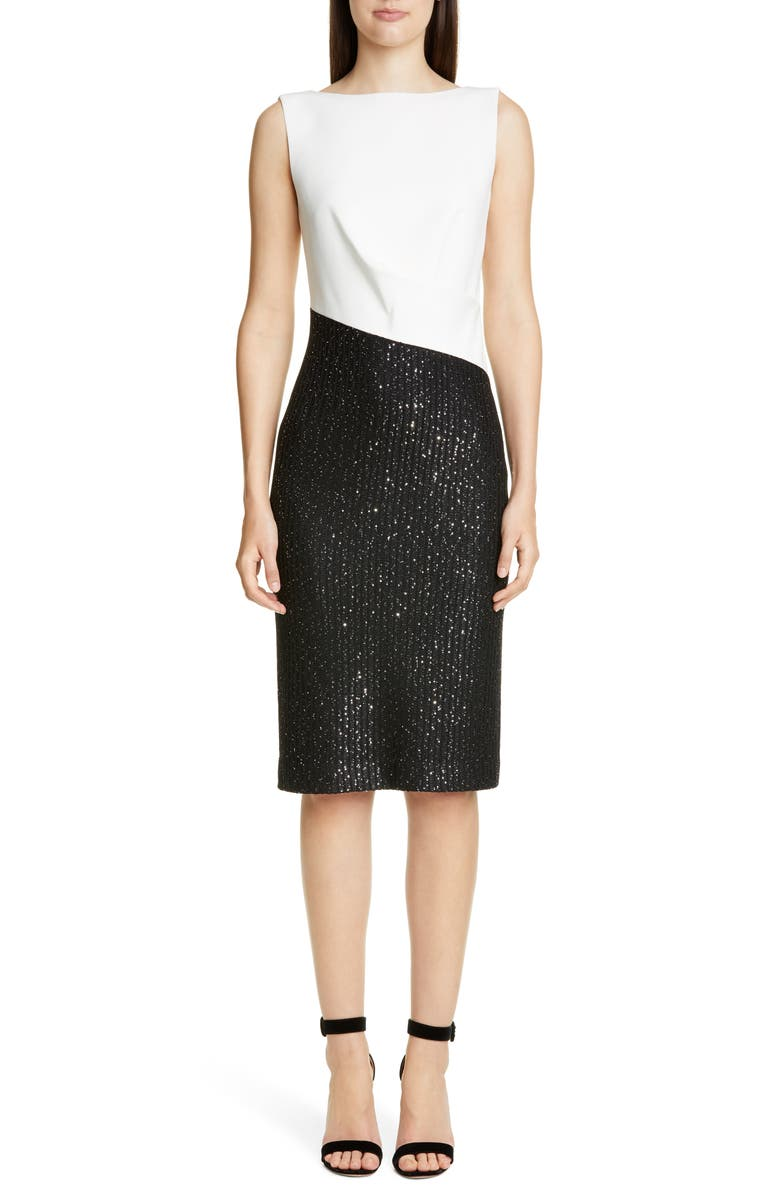 ST. JOHN COLLECTION Glittering Sequin Rib Knit Dress, Main, color, CREAM/ CAVIAR