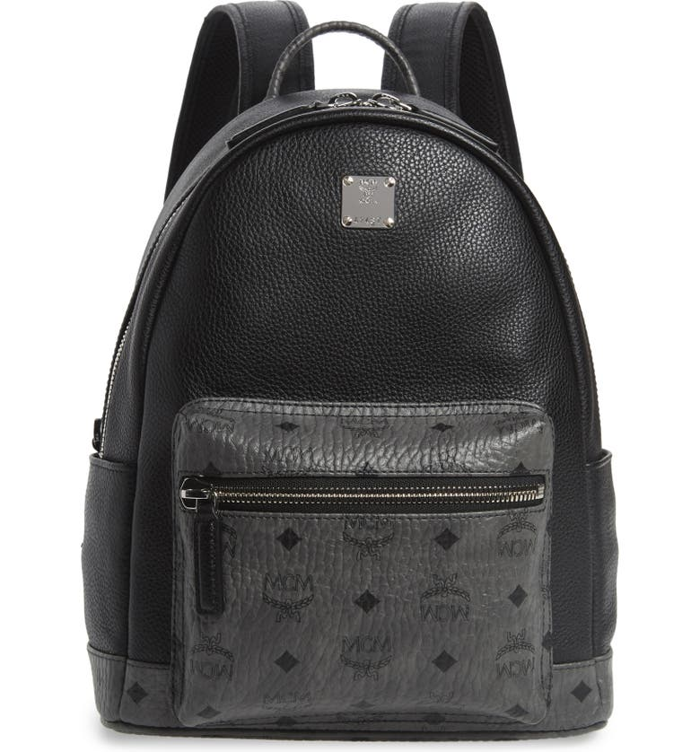 MCM Small Leather & Visetos Canvas Backpack, Main, color, BLACK