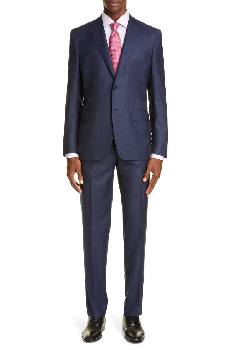 CANALI Sienna Soft Classic Fit Plaid Wool Suit, Main, color, DARK BLUE