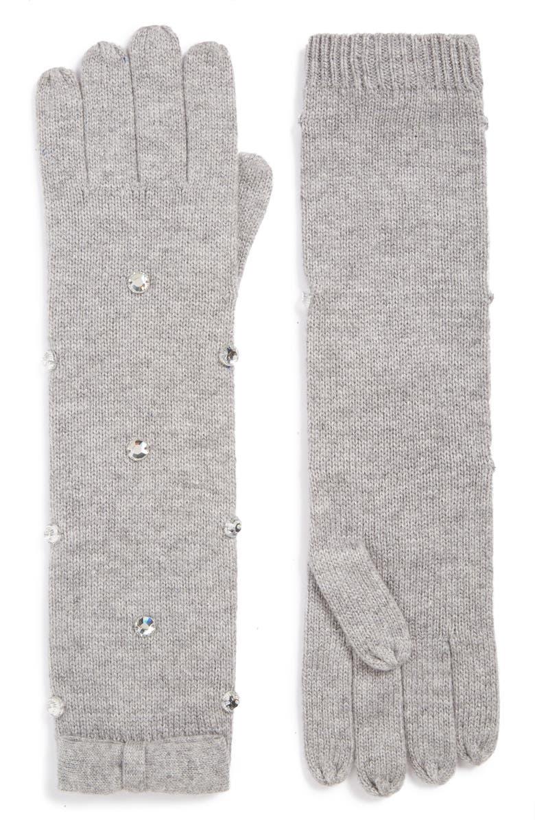 KATE SPADE NEW YORK embellished long gloves, Main, color, 020