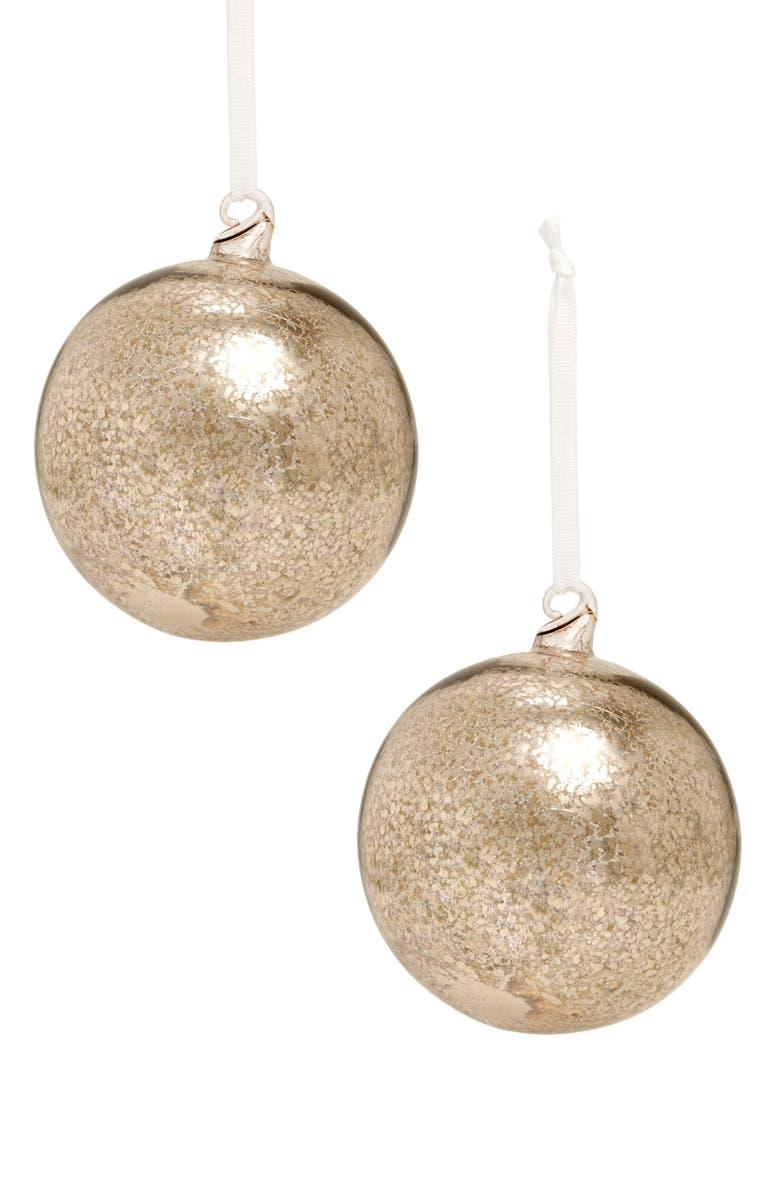 RACHEL PARCELL Set of 2 Mercury Glass Ornaments, Main, color, 040